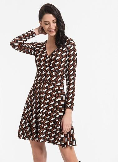 Styletag Desenli Kruvaze Elbise Siyah